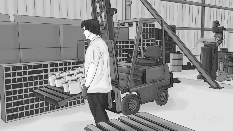 Man loading a forklift